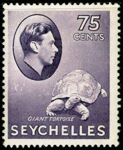 SEYCHELLES SG145a, 75c deep slate-lilac CHALKY PAPER, LH MINT. Cat £28.