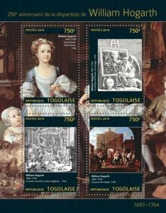 Togo 2014 William Hogarth English Printmaker  4 Stamp Sheet 20H-931
