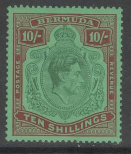 BERMUDA SG119 1938 10/= GREEN & DEEP LAKE/PALE EMERALD p14 MTD MINT