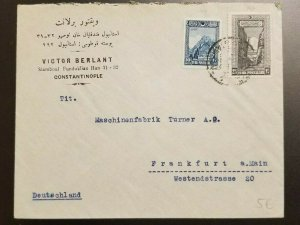 Vintage Constantinople Turkey Advertising Cover to Frankfurt Germany