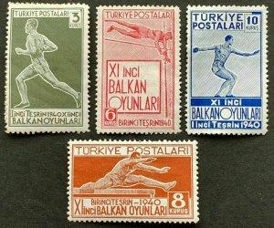 TURKEY/1940 - 11th BALKAN GAMES SET, MNH, Mi: 1090/1093, SC# 855/858