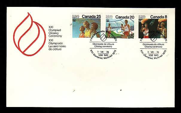 Canada-Sc#681-3 -stamps on FDC-Summer Olympics-Sports-1976-