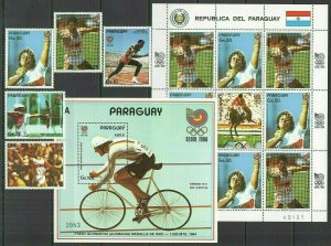 I402 PARAGUAY OLYMPIC GAMES SEOUL 1988 #4130-4134+KB+BL442 MICHEL 51,8 EURO FIX