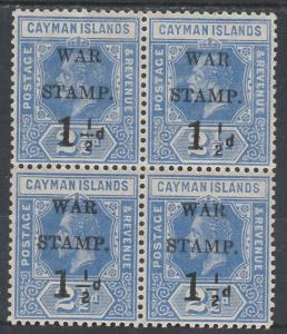 CAYMAN ISLANDS 1917 WAR STAMP 11/2D ON 21/2D VARIETY NO FRACTION BAR MNH **