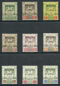Kelantan SG30/8 Malaya-Borneo Exhibition Set of 9 U/M (Some brown gum)