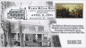 2015, Wilmer McLean House,  Appomattox VA, Civil War, Pictorial Postmark,
