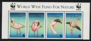 Angola Birds WWF Lesser Flamingo Strip of 4v WWF Logo SG#1402-1405 MI#1321-1324