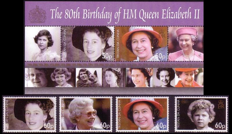 Tristan da Cunha 80th Birthday of HM Queen Elizabeth II 4v+MS SG#860/63+MS864