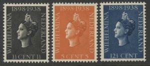 Netherlands 209 to 211 complete set - mnh 1898-1938 Wilhelmina Ruby Jubilee