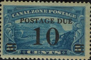CANAL ZONE #J24 1929 10c SURCHARGE ON 5c CANAL ZONE REGULAR ISSUE--MINT-OG/VLH