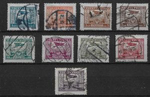 1925 Poland C1-9 complete Airmail set used.