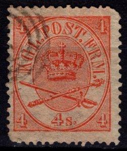 Denmark 1864-70 Christian IX Definitive, 4sk vermillion [Used]