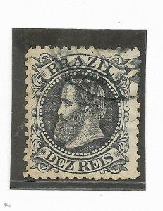 BRAZIL YEAR 1882 Emperor Dom Pedro 10r Black Used Vf