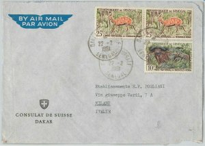 59358 -  SENEGAL - POSTAL HISTORY:  COVER to ITALY - 1961  - ANIMALS