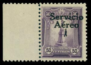 PERU 1927 AIRMAIL Overprinted  50c violet  Scott # C1 mint MLH - sheet border