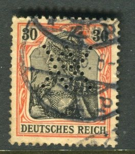 GERMANY; Early 1900s Germania issue fine used value + PERFIN , 30pf.