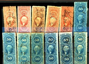 U.S. #R43-R46, R54-R55, R58-R61, R63 USED SET MIXED CONDITION