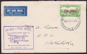 NEW ZEALAND 1932 West Coast survey flight cover Wellington to Hokitika......2381
