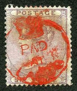 Lagos GB 6d Lilac cancelled Paid/at/Lagos Crowned circle in Red Only 2 Recorded
