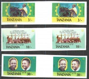 Tanzania Sc# 361-363 MNH Gutter Pairs IMPERF (ERROR) 1987 Arush Declaration 20th