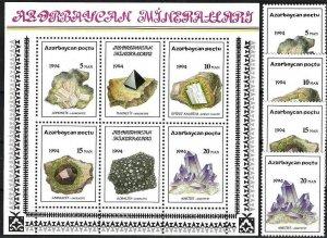 1994 Azerbaijan Beautiful Minerals and Gemstones, Sheet+complete set VF/MNH!