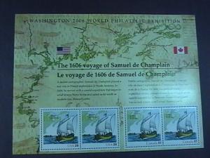 U.S.# 4074/CANADA 2156a--M/NH--JOINT SOUVENIR SHEET OF 4 -CHAMPLAIN---2006