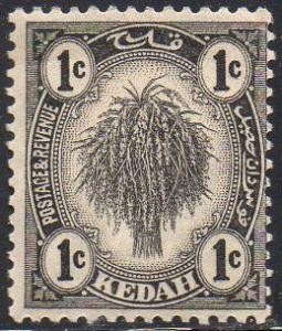 Kedah 1922 1c black  MH