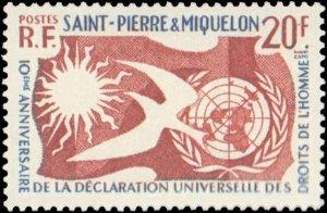 St. Pierre & Miquelon #356, Complete Set, 1958, Never Hinged