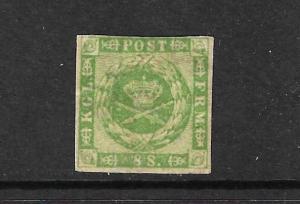 DENMARK  1858  8sk GREEN   MH  SG 18