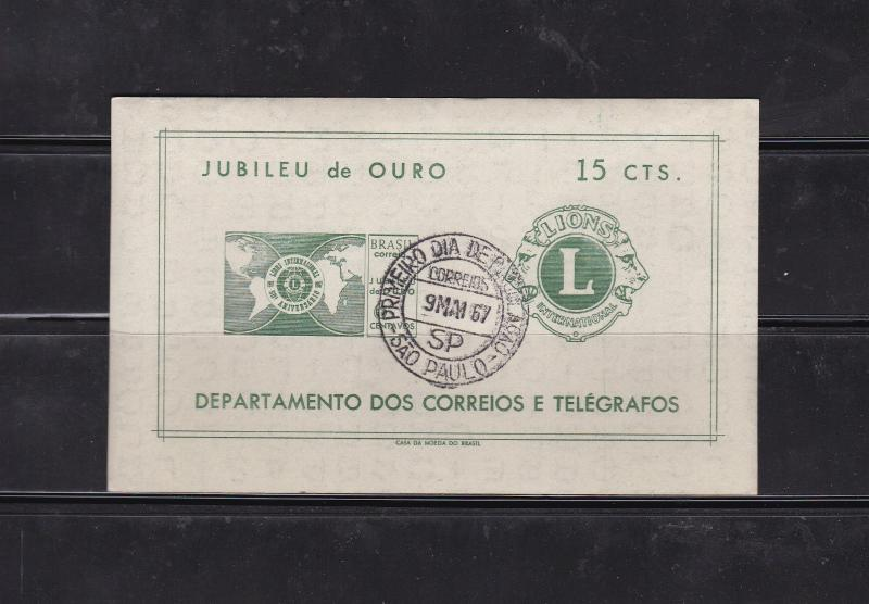 1967 Brazil 15ct 50th Lions Int. Anniversary Sheet First Day Cancel SG1172