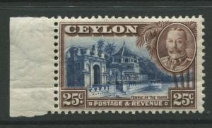 Ceylon -Scott 271 - KGV Definitive Issue - 1935 - MH - Single 25c Stamp