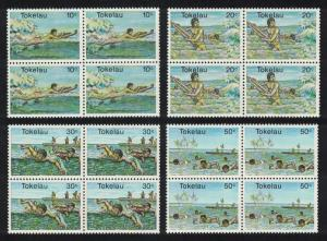Tokelau Swimming Water Sports 4v Blocks of 4 SG#73-76 SC#73-76