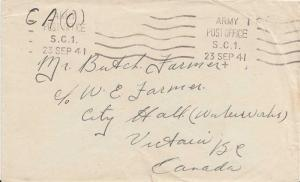 Canada Soldier's Free Mail 1941 Army Post Office, S.C. 1 Canadian Postal Corp...