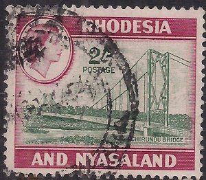Rhodesia & Nyasaland 1959 - 62 QE2 2/-d Chironda Bridge Used SG 27 ( G1093 )