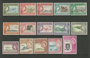British Virgin Islands 1964 Fresh unmounted mint set SG178-192 Sc144-158 CV £80