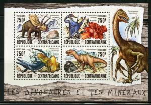 CENTRAL AFRICA  2016 DINOSAURS SHEET  MINT NH
