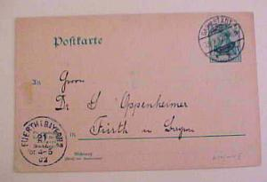 GERMAN   POSTAL CARD   1902 #P61FA CAT.$24.00