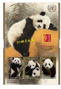 United Nations 2019 UN M/S Asia Stamp Exhibition Panda Animals SINGPEX 36