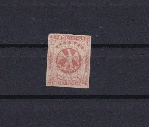 VENEZUELA 1863 IMPERF STAMP MOUNTED MINT ½ REAL RED CAT £55   REF 6261