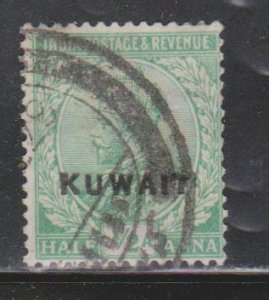 KUWAIT Scott # 1 Used - KGV Stamp Of India With Overprint