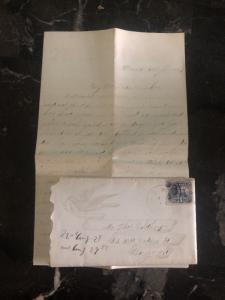1869 Romeo MI USA Cover To Chicago IL USA Letter Enclosed