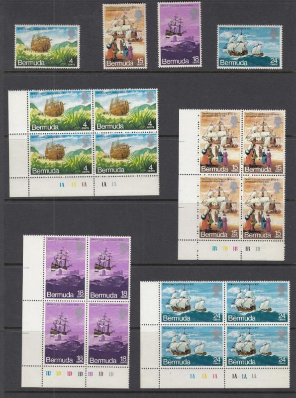 BERMUDA # 280-283 VF-MNH PLATE BLOCKS PLUS SET BUILDING OF DELIVERANCE
