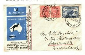 AUSTRALIA Internal Air Mail *Cootamundra to Charleville* FRANKING Cover 1934 PA2