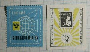 Stockholmia Sweden Intl Stamp Exhibition 1955 Philatelic Souvenir Ad Label MH