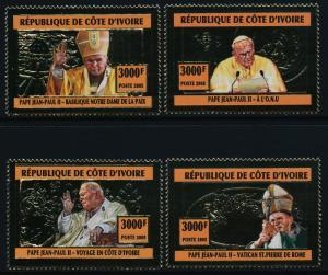 Ivory Coast gold foil MNH Pope John Paul II, UN, Architecture