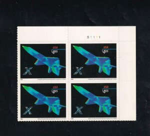 $4.05 Future Plane Priority Mail Plate Block/4, Sc #4018,MNH (13904)