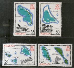 Kiribati 1983 Island Map Geology Ship Fish Sc 422-25 MNH # 961