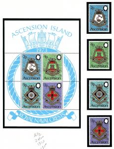 Ascension Is 166-69a MNH 1973 Royal Naval Crests