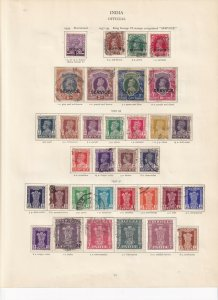 INDIA SERVICE TYPES GEORGE 6TH CROWN ALBUM PAGE,MINT/USED