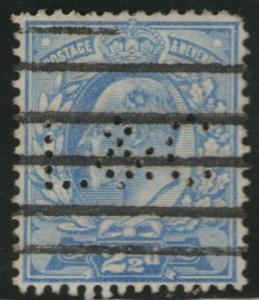 GREAT BRITAIN Used Scott # 131 King Edward VII - Perfin L & C (1 Stamp)12